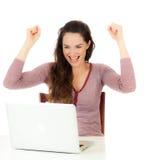 Portrait of happy female using Stock Photo