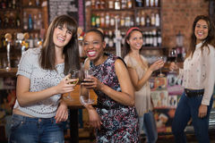 Portrait of happy females friends holding wineglasses. In pub Stock Photography