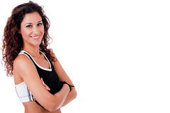 Portrait of happy fitness woman Stock Images