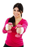 Happy fitness woman working out with free weights Royalty Free Stock Photos