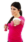 Happy fitness woman working out with free weights Stock Photo