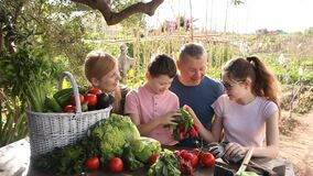 Portrait of happy friendly family talking while resting at wooden table in summer gazebo after harvesting in home garden