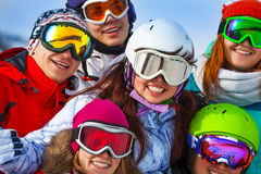 Portrait of happy friends wearing goggles Stock Photography