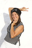 Funny mature woman black white blouse Royalty Free Stock Photography