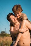 Portrait of a happy gay couple. Outdoors Royalty Free Stock Images