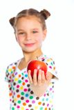 Portrait of happy girl with apple Royalty Free Stock Photos
