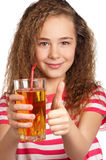 Girl with apple juice Stock Image