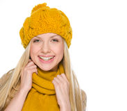 Portrait of happy girl in autumn clothes Royalty Free Stock Image