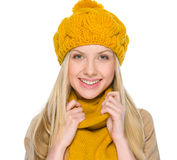 Portrait of happy girl in autumn clothes Stock Photos
