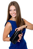Portrait of happy girl in a blue dress Stock Images