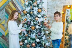 Portrait of happy girl and boy decorating Christmas tree.  Stock Photography