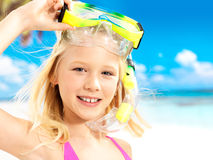 Portrait of the happy girl enjoying at beach Stock Image