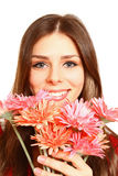 Portrait of happy girl with gerberas on a white background close Stock Photography