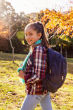 Portrait of happy girl hiking at park Royalty Free Stock Photography