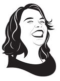 Portrait of a happy girl. Portrait of happy laughing girl. Vector illustration Royalty Free Stock Photo