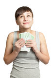 Portrait of  happy girl with money in hand. Stock Image