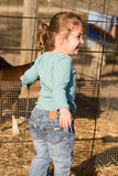 Portrait of Happy Girl at Petting Zoo Stock Photography