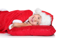 Portrait of happy girl in santa claus clothes Stock Photography