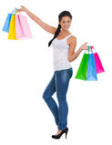 Portrait of happy girl with shopping bags Royalty Free Stock Photo