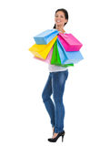 Portrait of happy girl with shopping bags Royalty Free Stock Photography