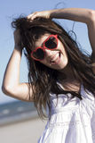 Portrait of happy girl with stylish sunglasses Stock Image