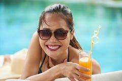 Happy woman at summer vacation stock photos