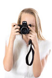 Portrait of happy girl taking pictures Royalty Free Stock Image