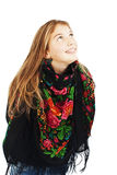 Portrait of happy girl teenager looking up. Royalty Free Stock Photography