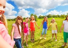 Portrait of happy girls outside Royalty Free Stock Photos