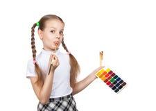 Portrait of happy girls. Schoolgirl draws paints Royalty Free Stock Photo