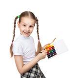 Portrait of happy girls. Schoolgirl draws paints Royalty Free Stock Image