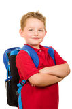 Portrait of happy grade school student wearing backpack royalty free stock photos