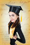 Portrait of a happy graduate female student - graduation concepts Royalty Free Stock Photos