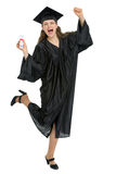 Portrait of happy graduation girl with diploma Royalty Free Stock Images