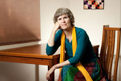 Portrait of a happy grandmother. A relaxed, candid portrait of this attractive senior royalty free stock images