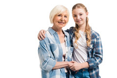 Portrait of happy grandmother and granddaughter embracing Royalty Free Stock Images