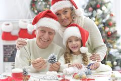 Family preparing for Christmas. Portrait of happy grandparents with grandchild preparing for Christmas together Royalty Free Stock Photo
