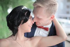 Portrait of happy groom and beautiful bride. Closeup. portrait of happy groom and beautiful bride Royalty Free Stock Photos
