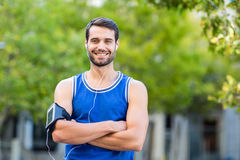 Portrait of an happy handsome athlete Stock Photos