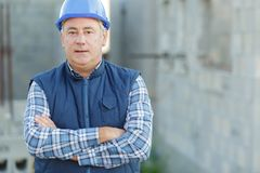 Portrait happy handsome male builder. Portrait of happy handsome male builder stock photos