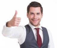 Portrait of happy handsome man in suit. Stock Image