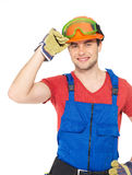 Portrait of happy handyman in uniform Royalty Free Stock Images