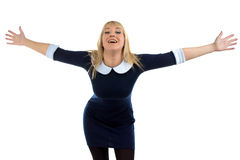 Portrait of happy hugging business woman Stock Photos