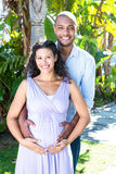 Portrait of happy husband with pregnant wife touching belly Stock Image