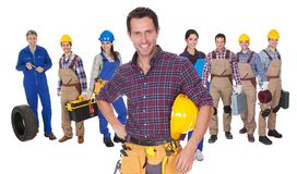 Portrait of happy industrial workers Stock Images