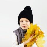 Portrait of happy joyful beautiful little boy against white back Royalty Free Stock Photo