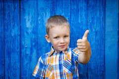 Portrait of happy joyful beautiful little boy gesturing thumb ag Stock Images