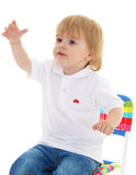 Portrait of happy joyful beautiful little boy Stock Images