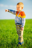 Portrait of happy joyful beautiful little boy outdoor at countryside. Pointing concept. Royalty Free Stock Images