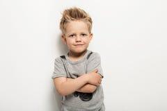 Portrait of happy joyful beautiful little boy Royalty Free Stock Images
